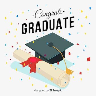 Birrete de graduación y diploma dibujado a mano