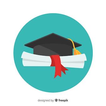 Birrete de graduación y diploma con diseño plano