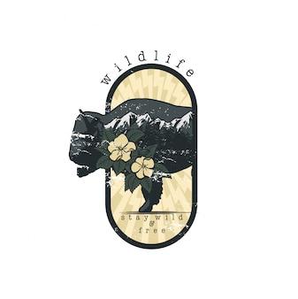 Bisonte en el vector emblema de doble exposición para su diseño