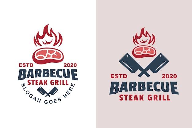 Bistec de barbacoa vintage logo a la parrilla dos versiones