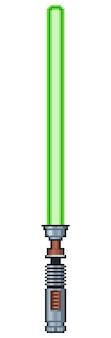Bit de icono de juego de sable de luz de pixel art sobre fondo blanco