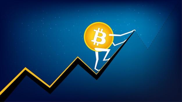 Bitcoin btc está subiendo al próximo pico. la criptomoneda tiene un récord histórico. moneda btc a la luna.