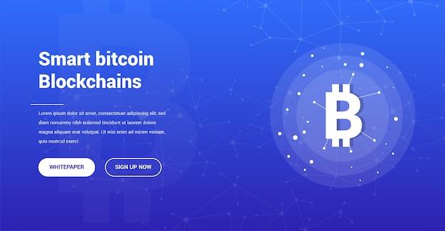 Bitcoin communication modern website landing page concept
