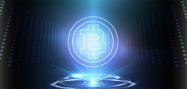 Bitcoin crypto moneda sobre fondo azul banner de tecnología moderna de dinero web digital