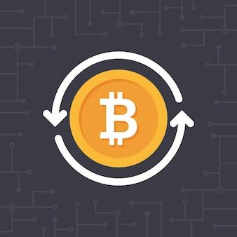 Bitcoin de oro con flechas circulares