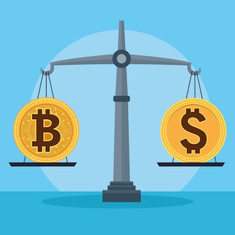 Bitcoin y dólar en equilibrio cyber dinero tecnología diseño ilustración vectorial