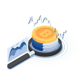 Bitcoin isométrico 3d plano sobre lupa con gráfico financiero. concepto de tecnología de criptomonedas y blockchain.