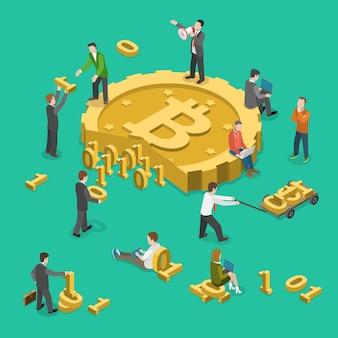 Bitcoin minería plana isométrica baja poli vector concepto