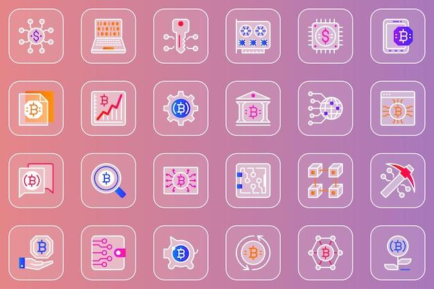 Bitcoin, minería, web, glassmórfico, iconos, conjunto