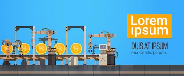 Bitcoin mining conveyor production crypto currency web money technology banner con copia espacio