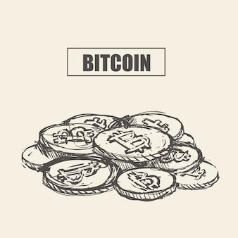 Bitcoin. moneda de bits físicos. moneda digital. criptomoneda. dibujar a mano bitcoin. ilustración de stock.