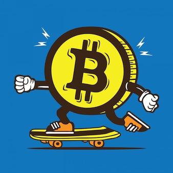 Bitcoin money skate skateboard diseño de personajes