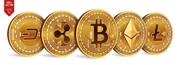 Bitcoin onda. ethereum guión, correr precipitadamente, precipitarse, ir de prisa. litecoin monedas físicas en 3d. criptomoneda