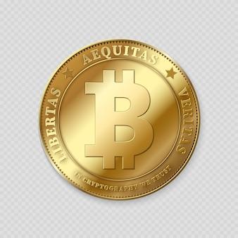 Bitcoin de oro realista sobre transparente