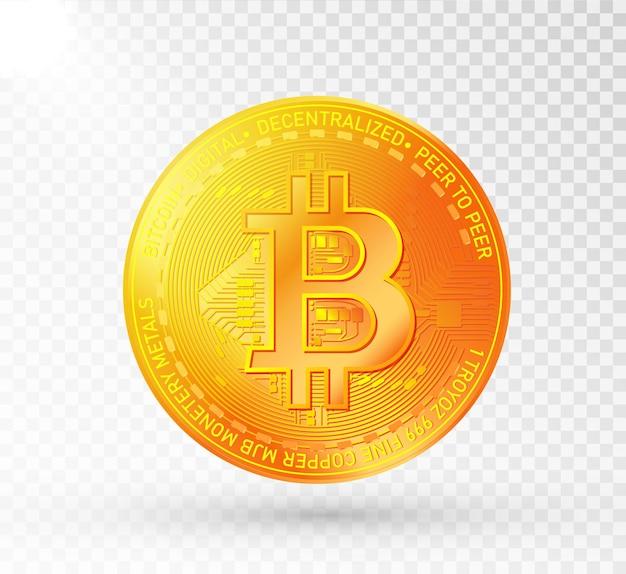 Bitcoin de oro, símbolo de criptomoneda aislado