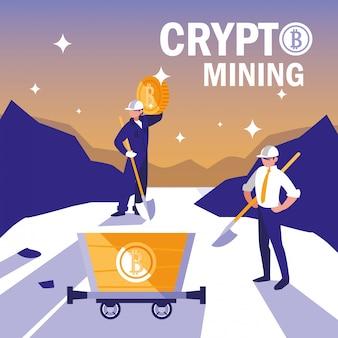 Bitcoins de minería criptográfica de trabajadores en equipo