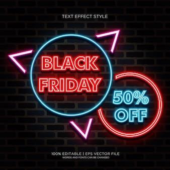 Black friday 50% de descuento en banner con efectos de texto de neón