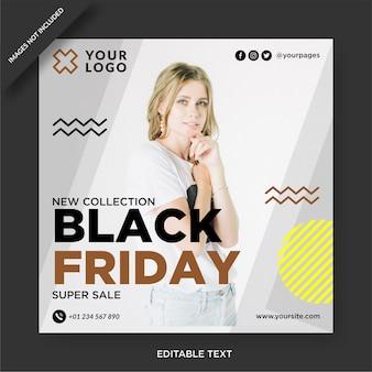 Black friday banner instagram y publicación en redes sociales