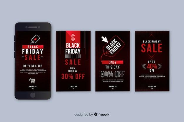 Black friday colección de historias de instagram en negro y rojo