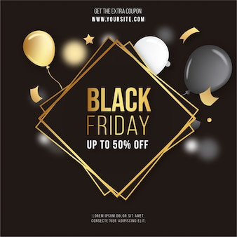 Black friday golden frame con confeti y globos