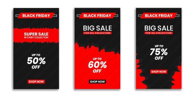 Black friday, historia de instagram o historia de redes sociales, vector de diseño de plantilla de banner de redes sociales