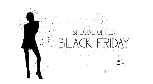 Black friday oferta especial banner con modelo de moda de goma de grunge silueta femenina en blanco