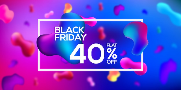Black friday sale banner fluid color azul y rosa