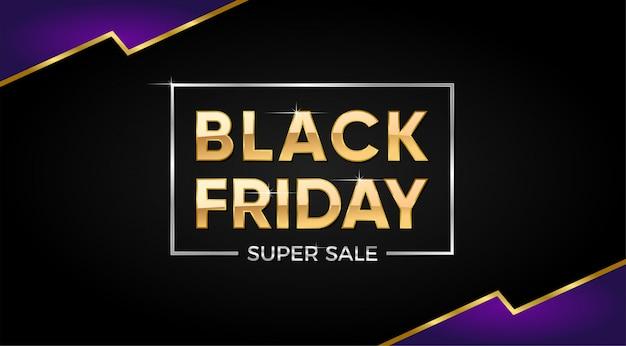 Black friday super sale banner con texto dorado.