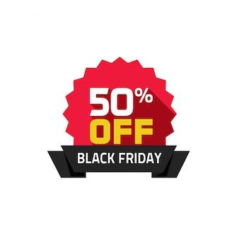 Black friday venta etiqueta vector plano de dibujos animados