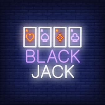 Black jack, letrero de neón