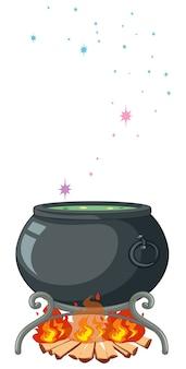 Black magic pot y varita mágica estilo de dibujos animados aislado sobre fondo blanco.