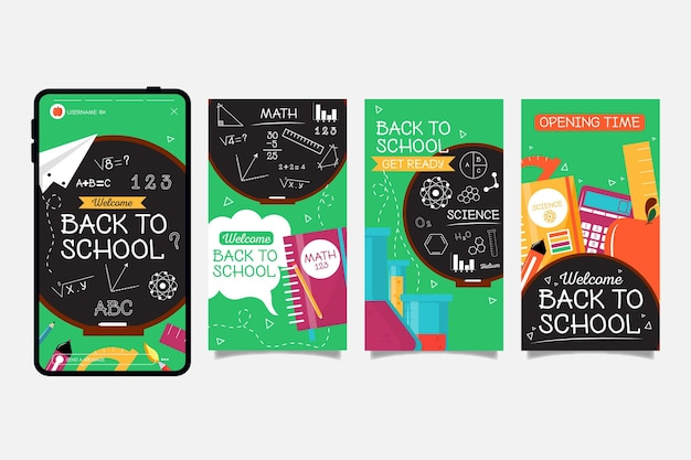 Blackboard back to school colección de historias de instagram