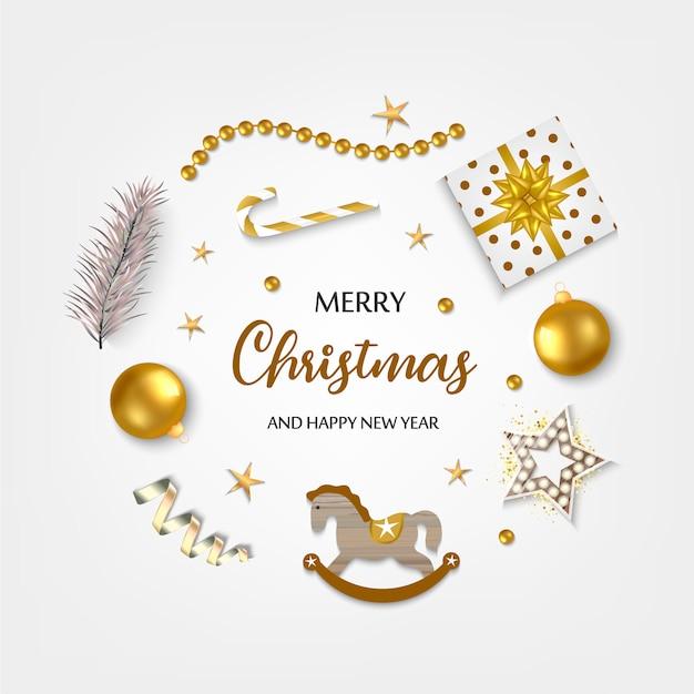 Blanca navidad con borde de cajas de regalo, bolas, estrellas y otras cosas.