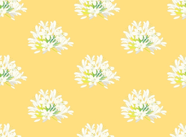 Blancanieves agapanthus sobre fondo amarillo