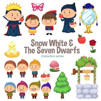 Blancanieves y la serie de personajes de los siete enanitos