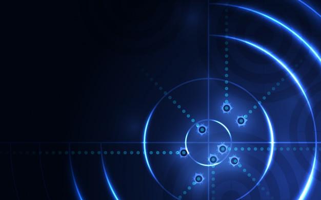 Blanco azul abstracto, rango de tiro en fondo negro. disparos solución de éxito objetivo