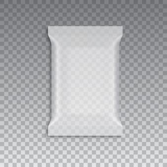 En blanco del embalaje de flujo transparente