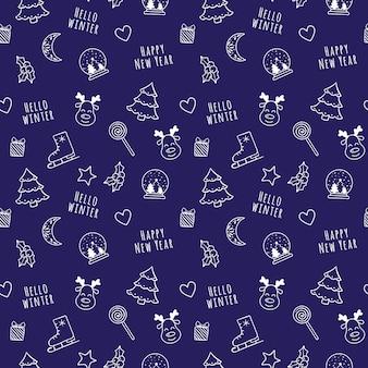 Blanco lineal de dibujos animados de patrones sin fisuras de navidad y año nuevo con globo de nieve, luna, corazón, árbol, regalo, acebo