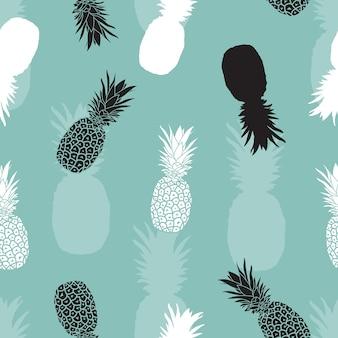Blanco y negro dibujado a mano piña de patrones sin fisuras en fondo azul