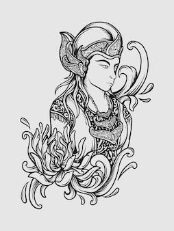 Blanco y negro dibujado a mano traje tradicional java wayang grabado adorno
