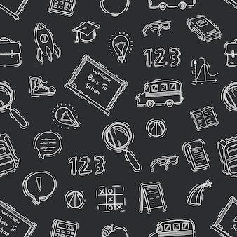 Blanco y negro de doodle escuela de patrones sin fisuras en pizarra