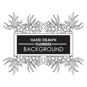 Blanco y negro mano dibujado marco floral