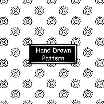 Blanco y negro patrón dibujado a mano