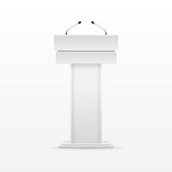 Blanco podium tribune rostrum stand con micrófono