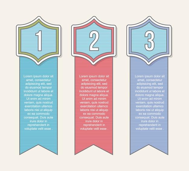 En blanco tres etiquetas con números vector illustration