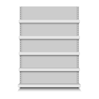 Blanco vector vacío tienda estantes. estante al por menor. puesto de supermercado