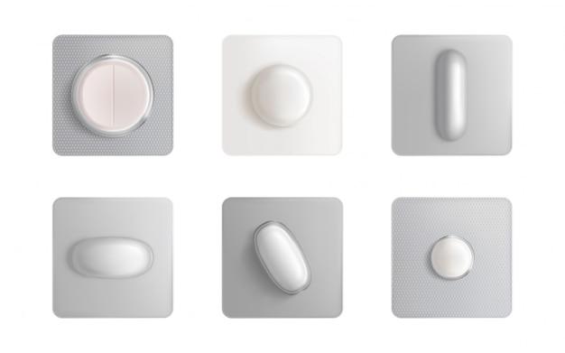 Blister de pastillas, tabletas medicinales y cápsulas