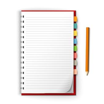 Bloc de notas con recordatorios y lápiz