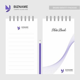 Bloc de notas de diseño de empresa con logotipo y diseño elegante
