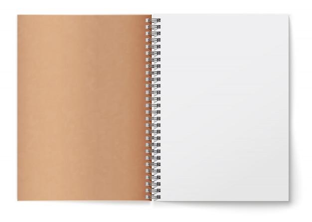 Bloc de notas espiral realista abierto horizontal realista. cubierta de textura de cartón marrón